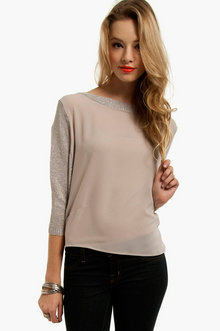 Sammie Mesh Sleeve Top in Taupe