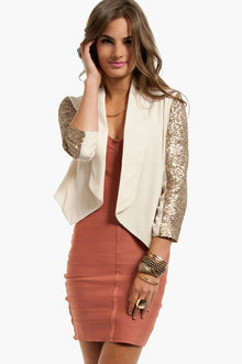 Sparkle Sleeve Blazer in Cream