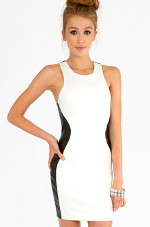 Racetrack Leather Dress in Black & White