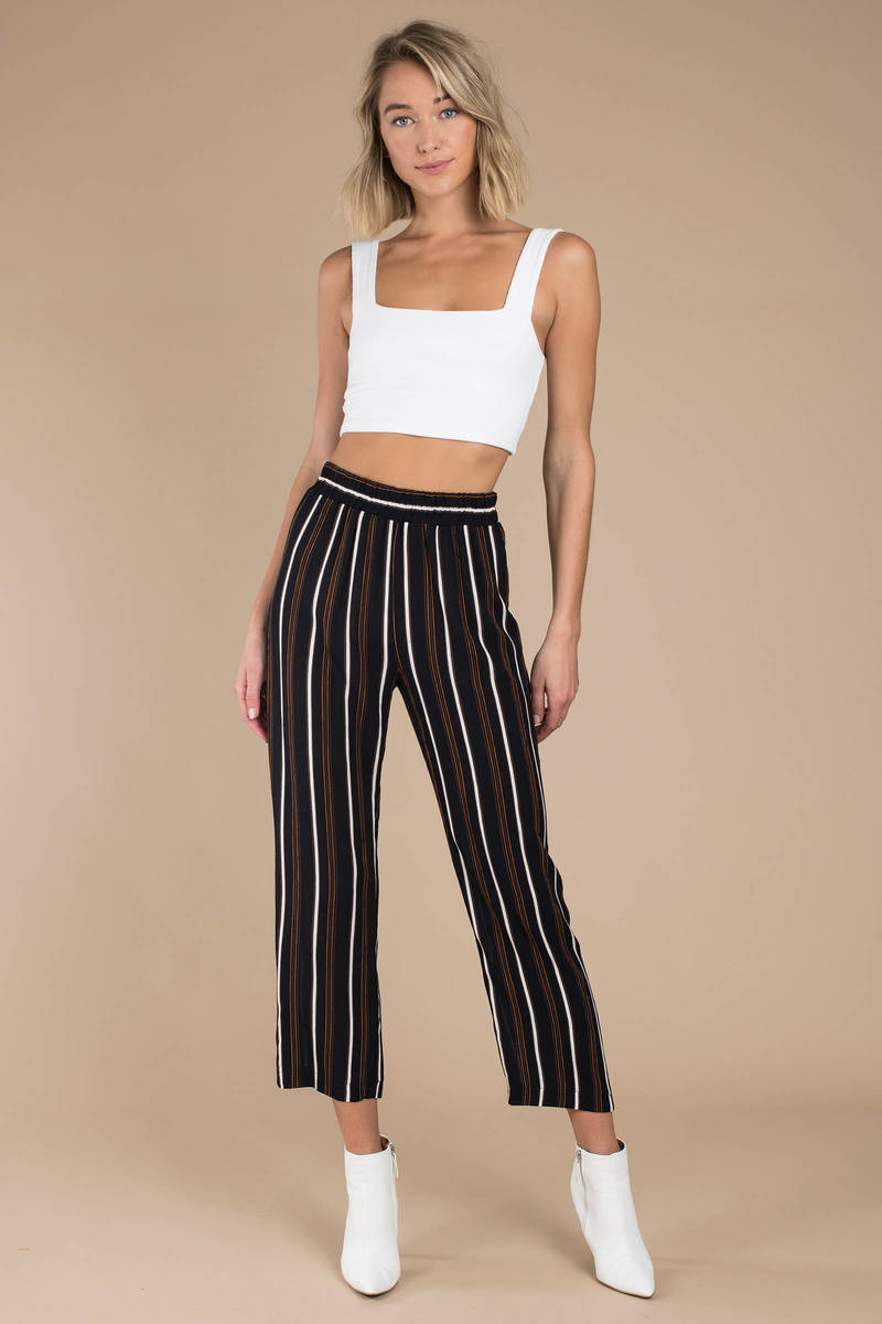 a04822bc2578 Trendy Black Pants - Wide Leg Pants - Black Striped Culottes - AU ...