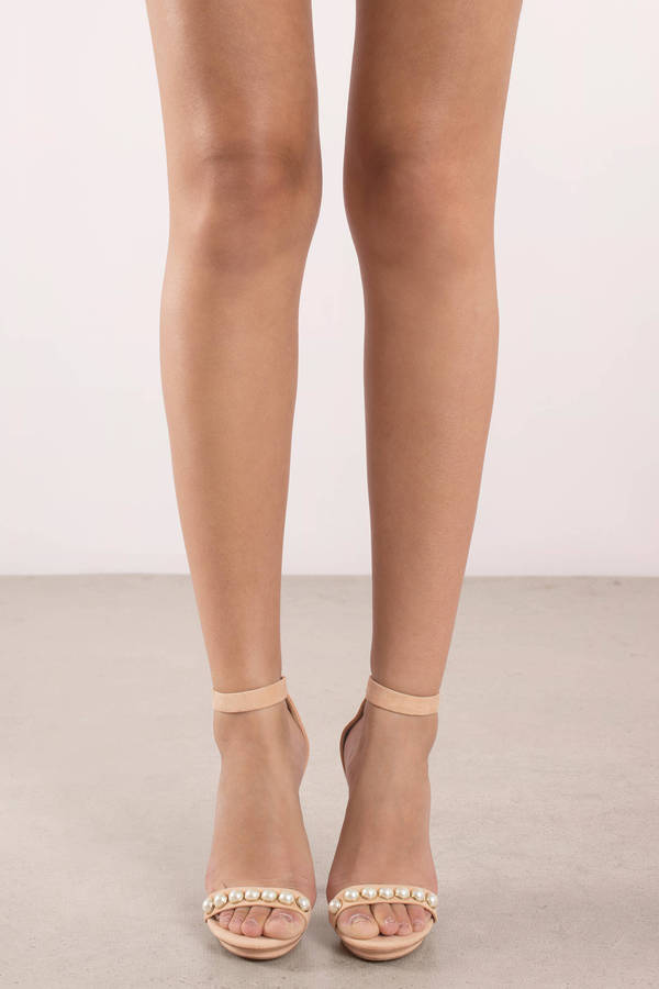 Amy Nude Pearl Ankle Strap Heels | Tobi